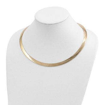 14k Two-tone Lt Reversible 8mm Omega w/extender Necklace