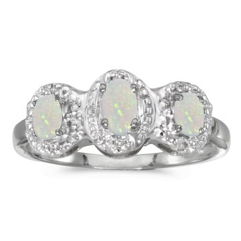 10k White Gold Oval Opal And Diamond Three Stone Ring