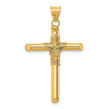 14K Polished w/Center Wrap Tube Cross Pendant