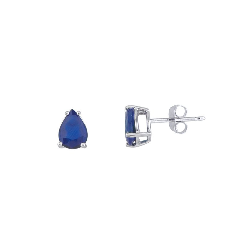 Color Merchants 14k White Gold Pear Shaped Sapphire Earrings