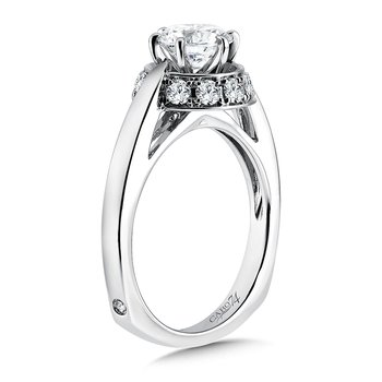 Modernistic Collection Six-prong Halo Engagement Ring in 14K White Gold with Platinum Head (1ct. tw.)