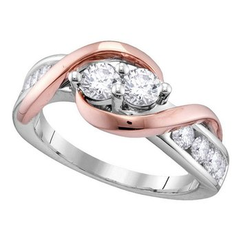 14kt White Gold Womens Round Diamond 2-stone Hearts Together Bridal Wedding Engagement Ring 3/4 Cttw