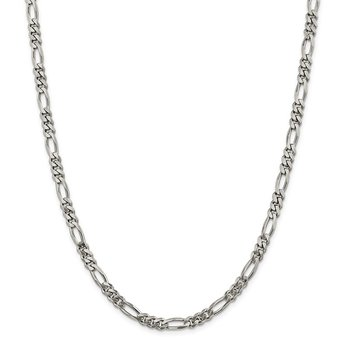 Sterling Silver Rhodium-plated 5.25mm Figaro Chain