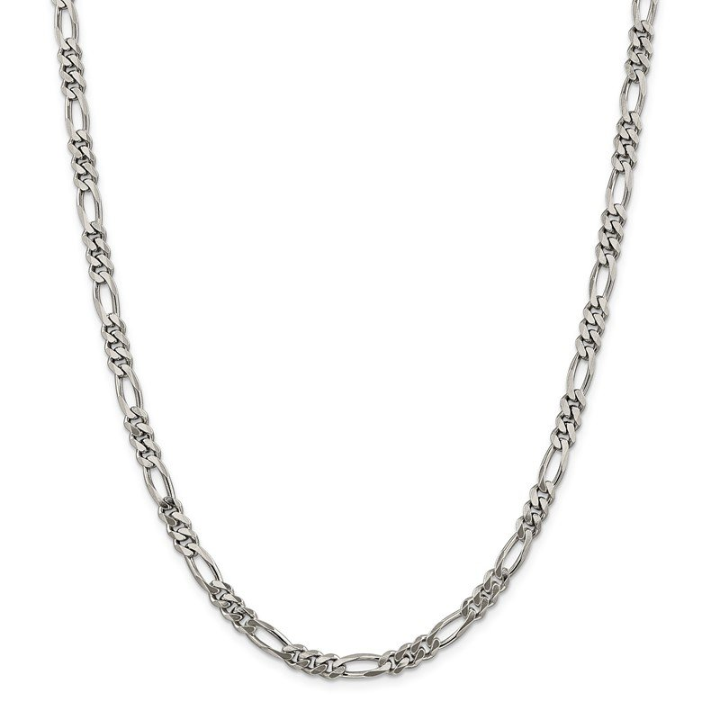Fine Jewelry by JBD Sterling Silver Rhodium-plated 5.25mm Figaro Chain