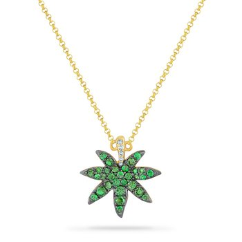 14K LEAF NECKLACE  WITH 5 DIAMONDS 0.03CT & 30 GREEN GARNET 0.63CT 18 INCHES CHAIN