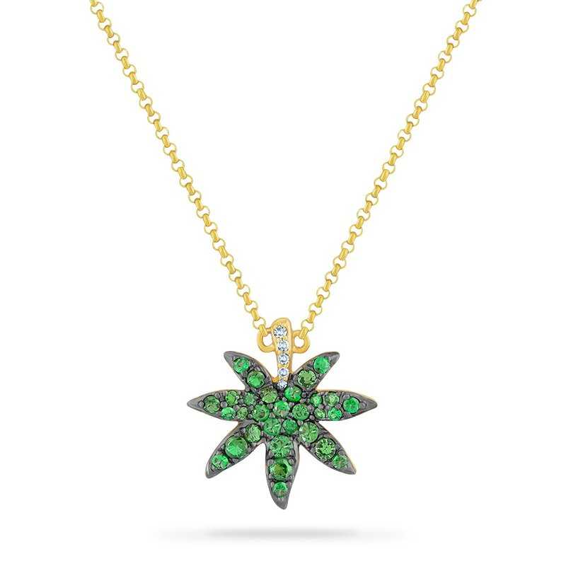 Shula NY 14K LEAF NECKLACE  WITH 5 DIAMONDS 0.03CT & 30 GREEN GARNET 0.63CT 18 INCHES CHAIN