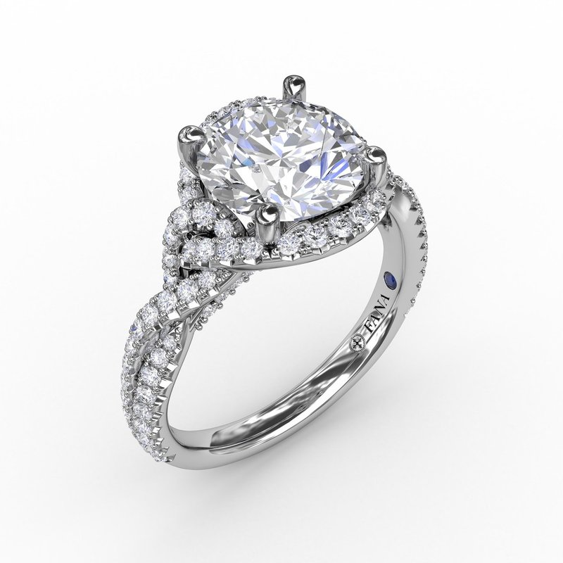 Fana Contemporary Round Diamond Halo Engagement Ring With Twisted Shank
