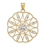Arizona Diamond Center Collection 14K and White Rhodium Polished & Diamond-cut Circle Pendant