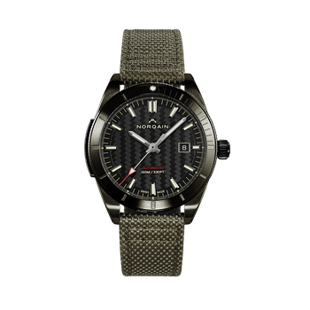 Adventure Sport - DLC Black On Khaki Fabric/Leather Strap Watch