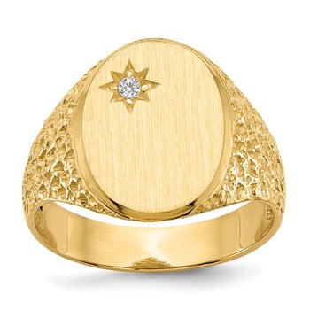 14k 16.0x12.0mm Open Back AA Diamond Men's Signet Ring