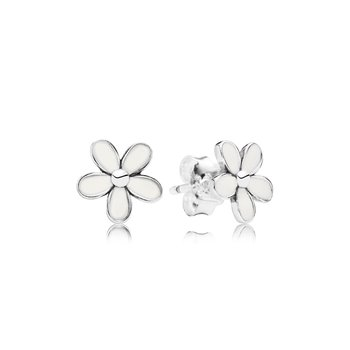Darling Daisies Stud Earrings, White Enamel