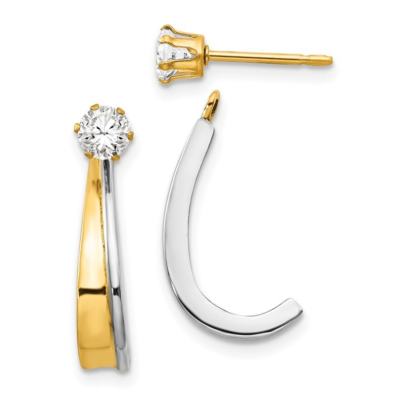 Quality Gold 14k J Hoop w/Rhodium and CZ Earring Jacket
