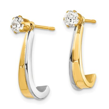 14k J Hoop w/Rhodium and CZ Earring Jacket