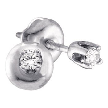 14kt White Gold Girls Infant Round Diamond Solitaire Stud Earrings 1/10 Cttw