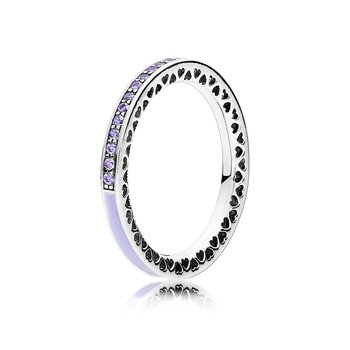 Radiant Hearts Of Pandora, Lavender Enamel Clear Cz