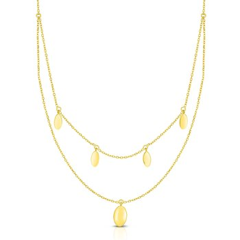 14K Gold Oval Disc Multi-Strand Necklace