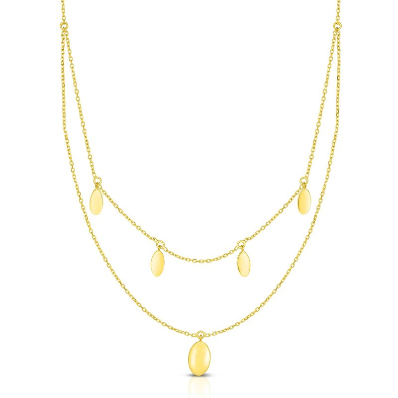 Royal Chain 14K Gold Oval Disc Multi-Strand Necklace