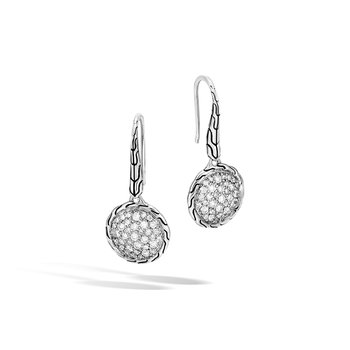 Classic Chain Drop Earring in Silver with Diamonds. Available at our Halifax store.