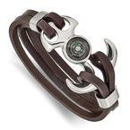 Chisel Stainless Steel Polished Functional Compass Brown Leather 8.5in Bracelet