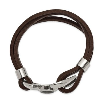 Stainless Steel Polished Functional Compass Brown Leather 8.5in Bracelet