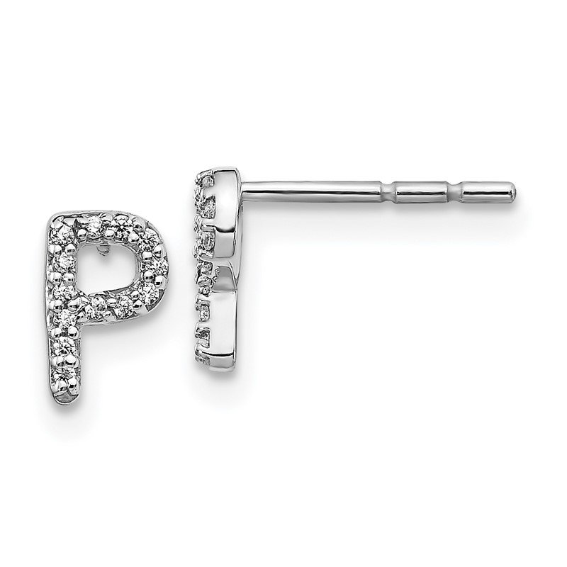 Quality Gold 14k White Gold Diamond Initial P Earrings