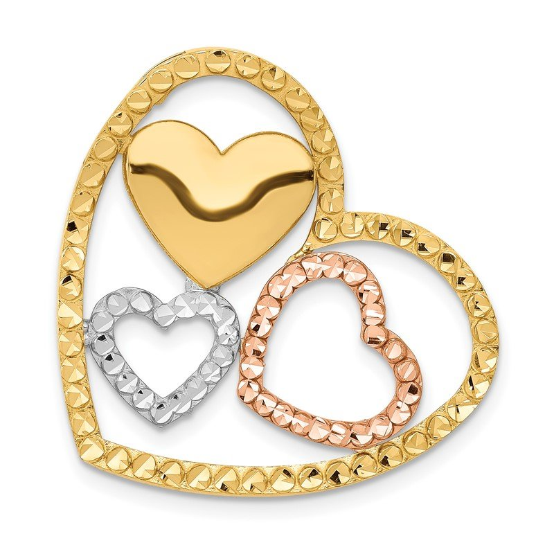 Quality Gold 14K Yellow & Rose Gold w/Rhodium Heart Chain Slide