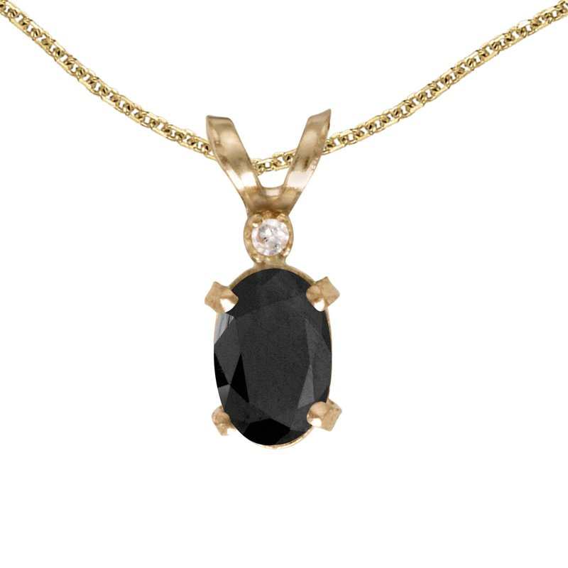 Color Merchants 14k Yellow Gold Oval Onyx And Diamond Filagree Pendant