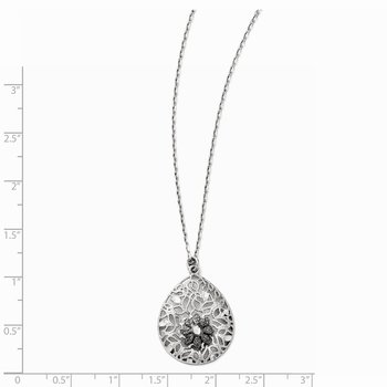 Leslies Sterling Silver Diamond-cut and Textured Necklace w/2in ext