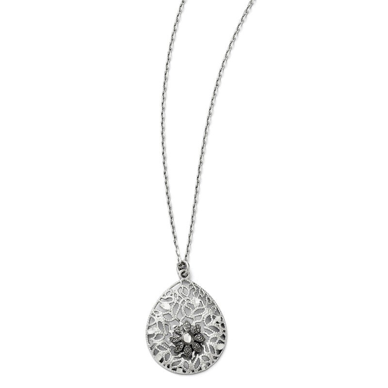 Leslie's Leslies Sterling Silver Diamond-cut and Textured Necklace w/2in ext