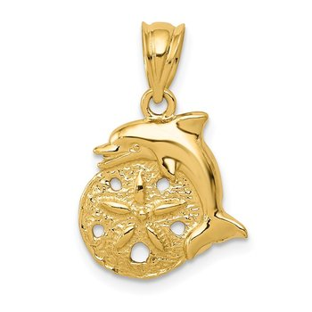 14k Dolphin and Sanddollar Charm
