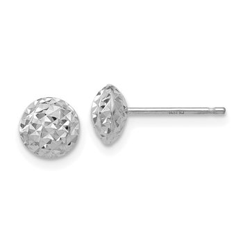 14K White Gold 6mm Circle Puff Post Earrings