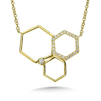 Asymmetrical Honeycomb Diamond Necklace