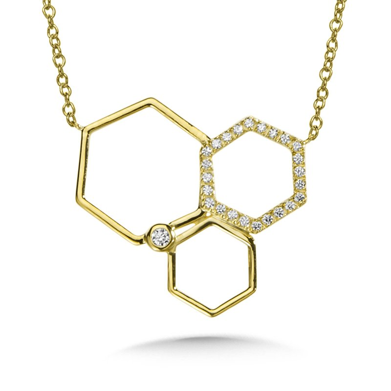 SDC Creations Asymmetrical Honeycomb Diamond Necklace