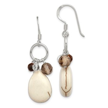 Sterling Silver Crazy Lace Agate/Clear and Smoky Qtz/Tiger Eye Earrings