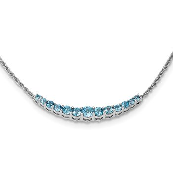 Sterling Silver Rhodium-plated Blue Topaz Pendant w/Necklace