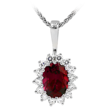 14kt Ruby and Diamond Halo Pendant