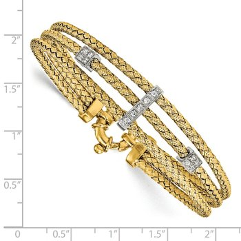 Leslie's Sterling Silver Gold-plated CZ Polished Woven Bracelet