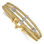 Leslie's Leslie's Sterling Silver Gold-plated CZ Polished Woven Bracelet