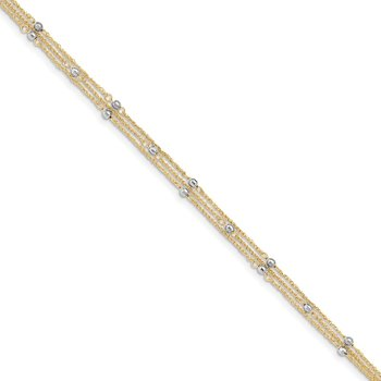 14k Two-tone Triple Strand 9in Plus 1in ext. Anklet