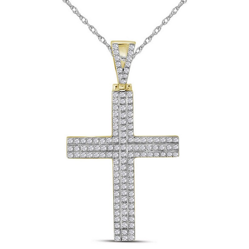 Kingdom Treasures 10kt Yellow Gold Mens Round Diamond Cross Religious Charm Pendant 1/3 Cttw