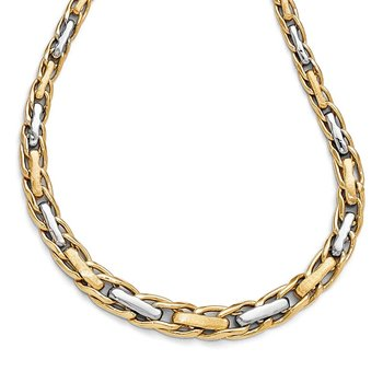 Leslie's 14k Two-tone Polished and Brushed Link Necklace