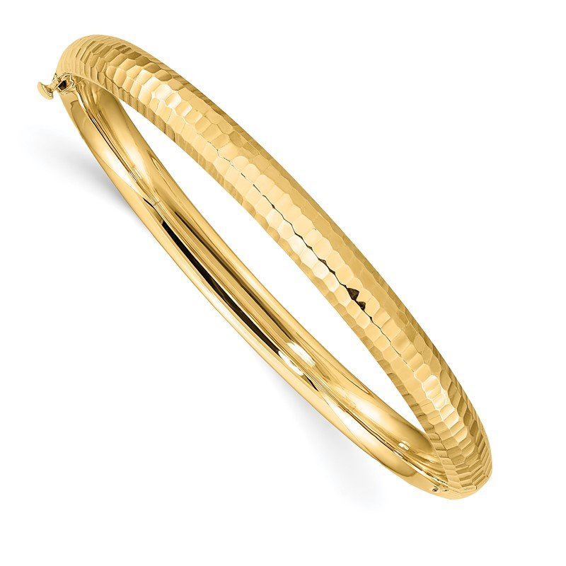 Quality Gold 14k 3/16 Hammered Children's Hinged Bangle