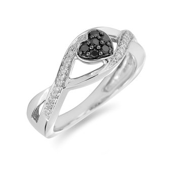 14K WG Black Diamond Heart Ring