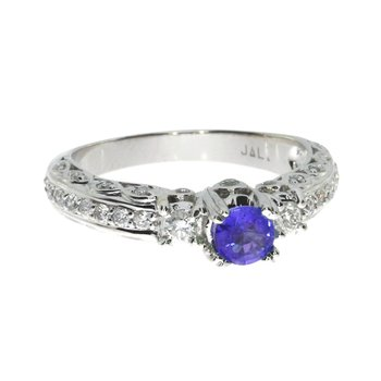 14k White Gold Sapphire Solitaire Ring