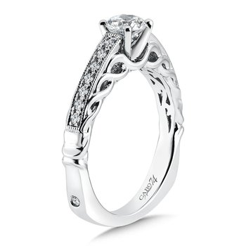 Engagement Ring With Side Stones in 14K White Gold with Platinum Head (1/2ct. tw.)