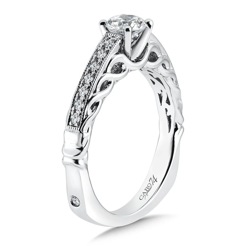 Caro74 Engagement Ring With Side Stones in 14K White Gold with Platinum Head (1/2ct. tw.)