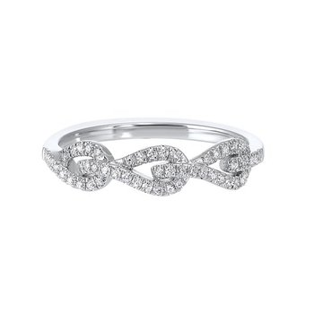 Diamond Triple Teardrop White Gold Stackable Wedding Ring (⅙ ctw)