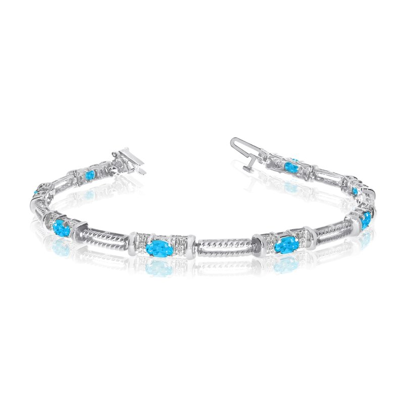 Color Merchants 10k White Gold Natural Blue-Topaz And Diamond Tennis Bracelet