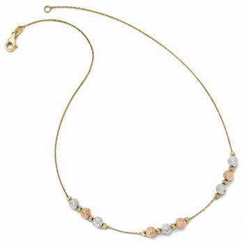 Leslie's 14k Tri Colored Diamond-cut Beaded Necklace