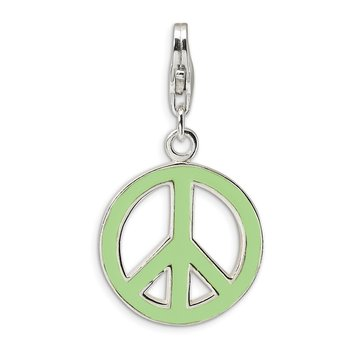 SS RH Green Enameled Peace Symbol w/Lobster Clasp Charm